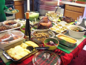 En dejlig buffet med julemad